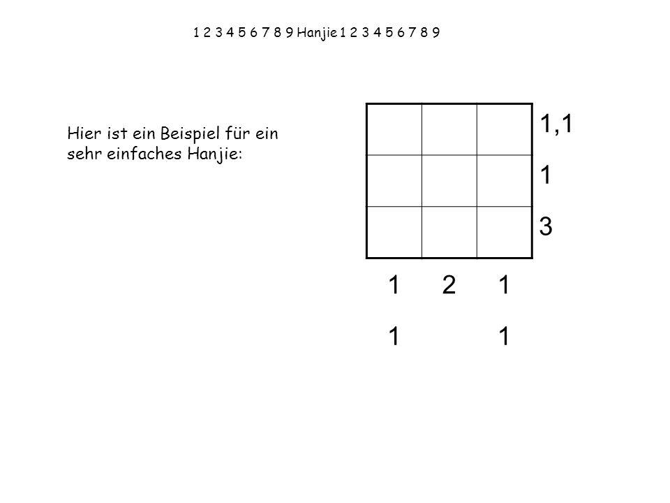 1,1 1 3 2 Hier ist ein Beispiel für ein sehr einfaches Hanjie: