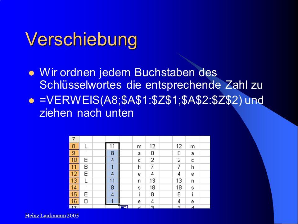 Verschiebung Wir ordnen jedem Buchstaben des Schlüsselwortes die entsprechende Zahl zu. =VERWEIS(A8;$A$1:$Z$1;$A$2:$Z$2) und ziehen nach unten.