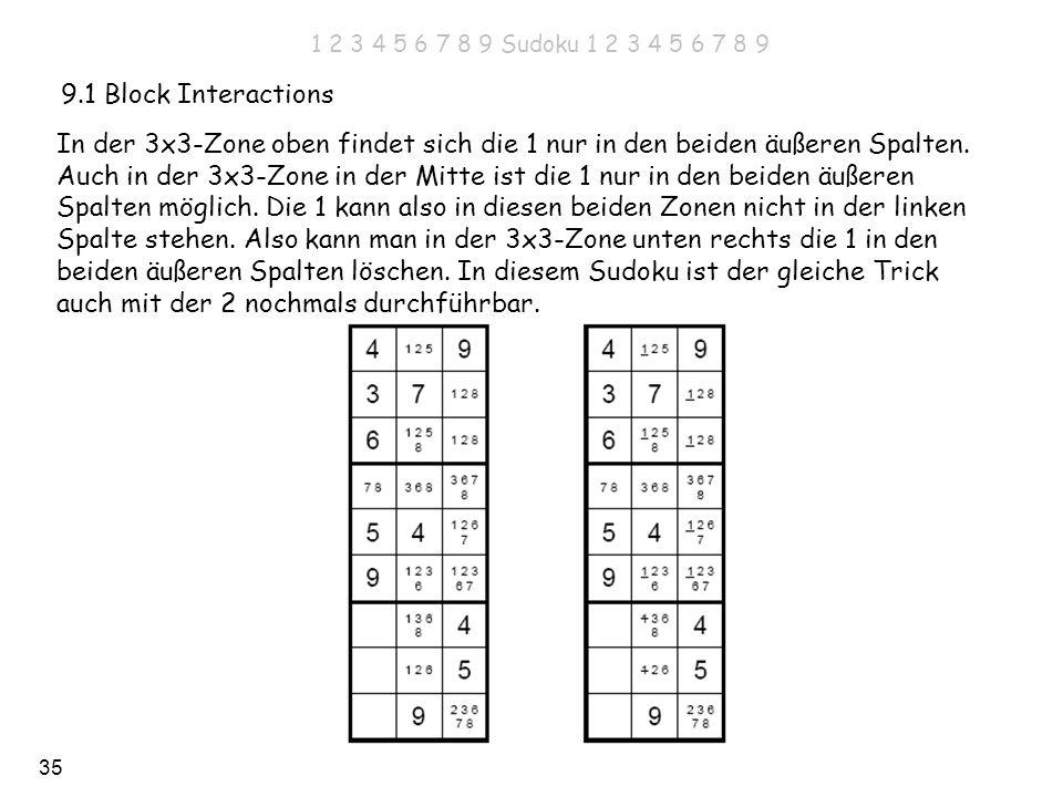 Auch in der 3x3-Zone in der Mitte ist die 1 nur in den beiden äußeren