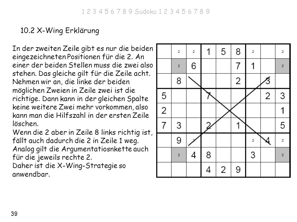 1 2 3 4 5 6 7 8 9 Sudoku 1 2 3 4 5 6 7 8 910.2 X-Wing Erklärung.