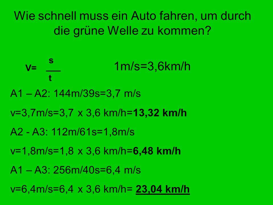 Wie schnell muss ein Auto fahren, um durch die grüne Welle zu kommen