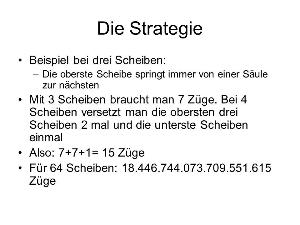Die Strategie Beispiel bei drei Scheiben: