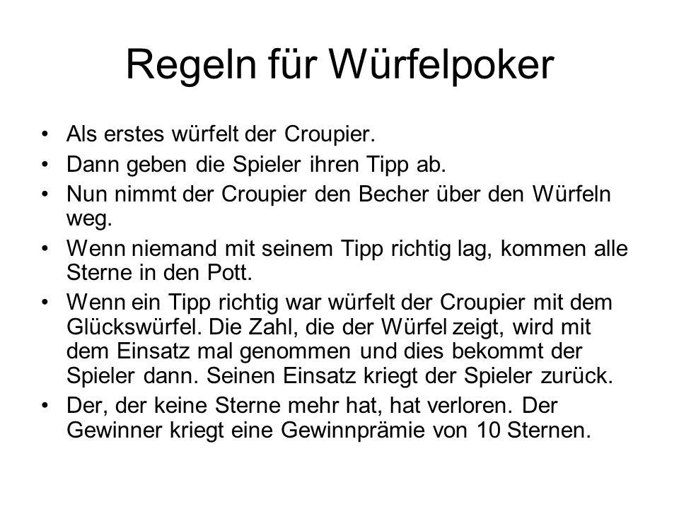 Regeln für Würfelpoker