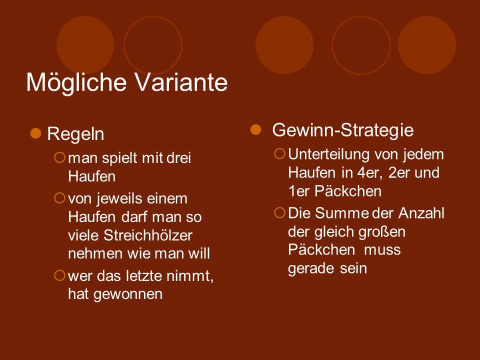 Mögliche Variante Gewinn-Strategie Regeln