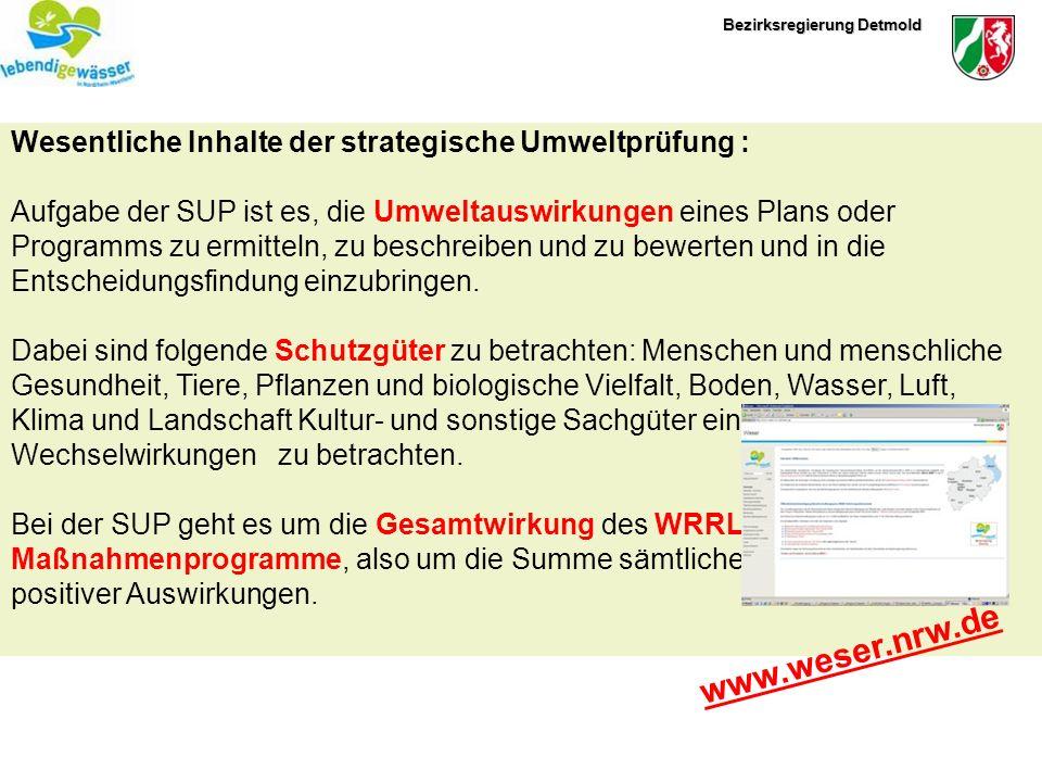www.weser.nrw.de Wesentliche Inhalte der strategische Umweltprüfung :