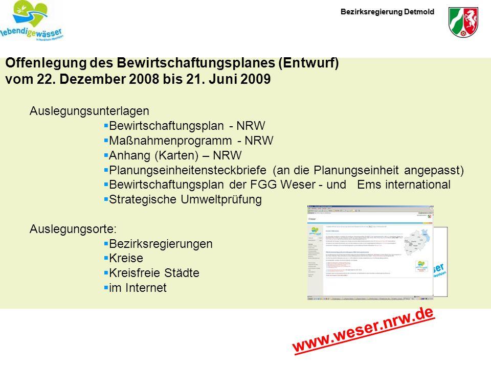 www.weser.nrw.de Offenlegung des Bewirtschaftungsplanes (Entwurf)