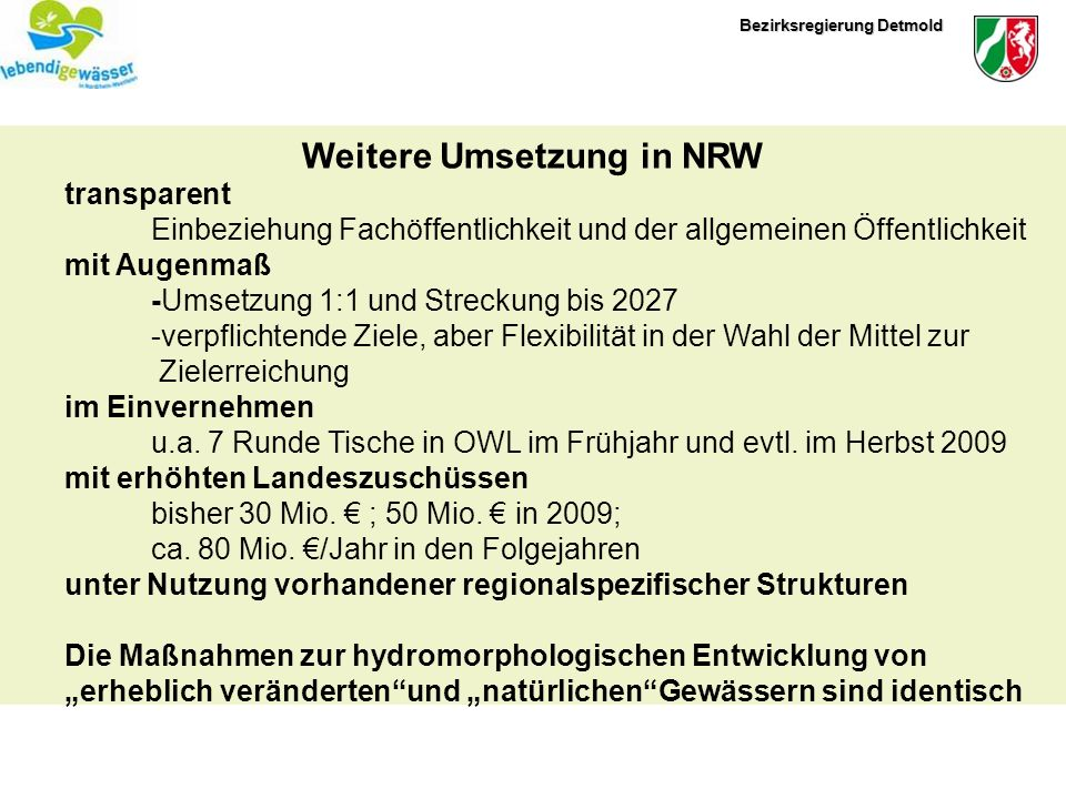 Weitere Umsetzung in NRW