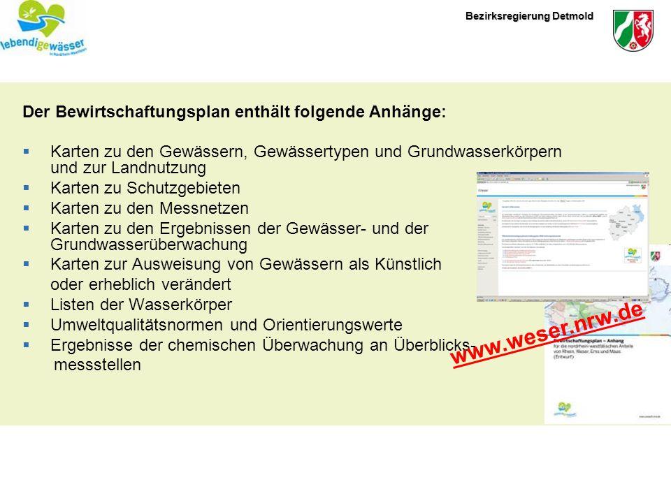 www.weser.nrw.de Der Bewirtschaftungsplan enthält folgende Anhänge: