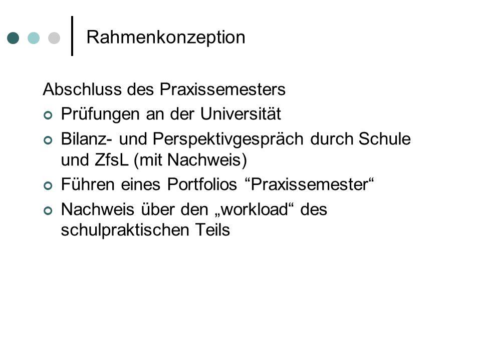 Rahmenkonzeption Abschluss des Praxissemesters