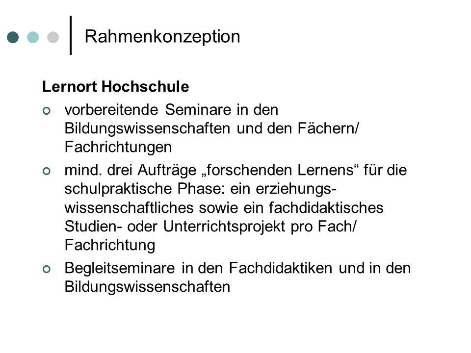 Rahmenkonzeption Lernort Hochschule
