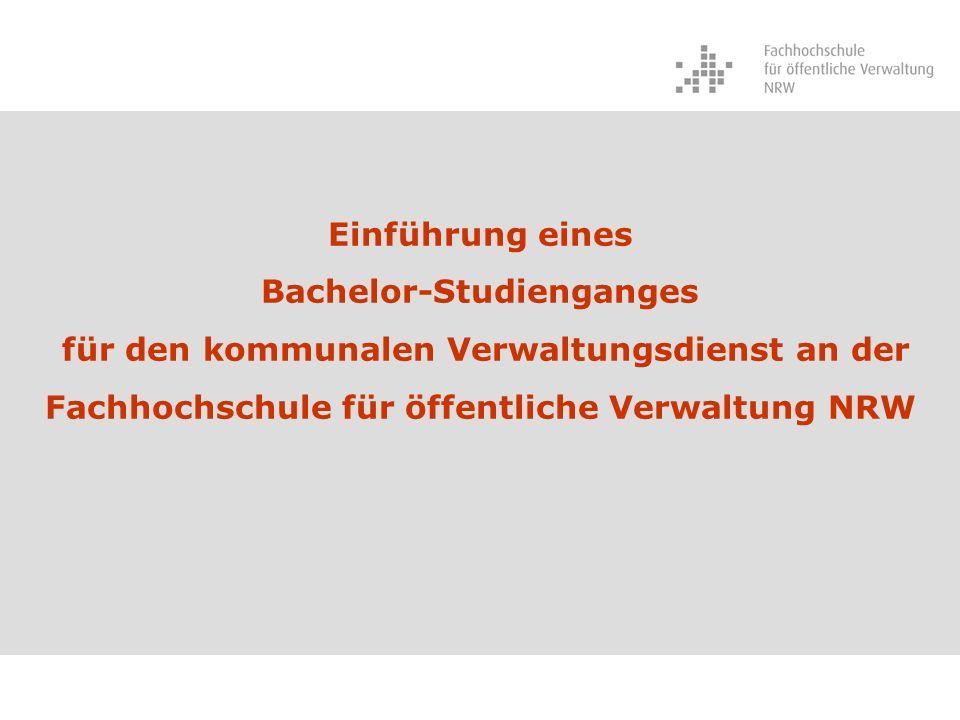 Bachelor-Studienganges für den kommunalen Verwaltungsdienst an der