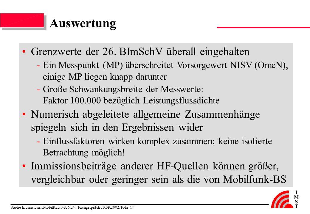 Auswertung Grenzwerte der 26. BImSchV überall eingehalten