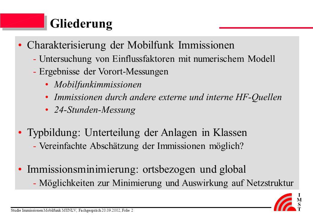 Gliederung Charakterisierung der Mobilfunk Immissionen