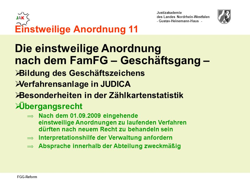 Die einstweilige Anordnung nach dem FamFG – Geschäftsgang –