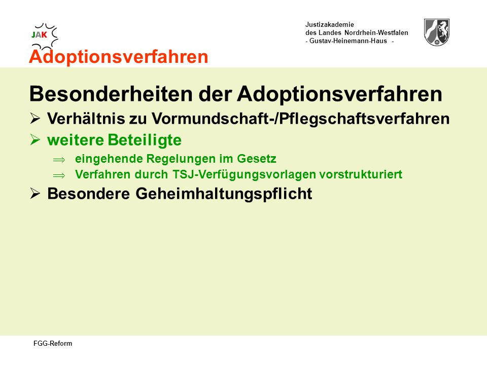 Besonderheiten der Adoptionsverfahren