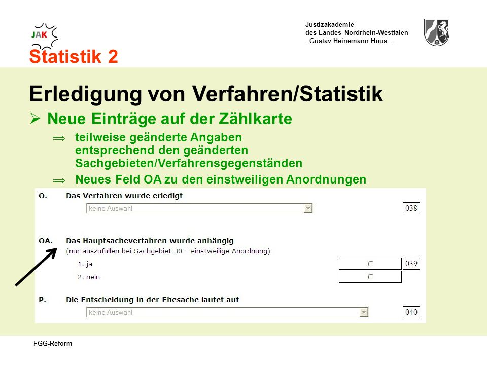 Erledigung von Verfahren/Statistik