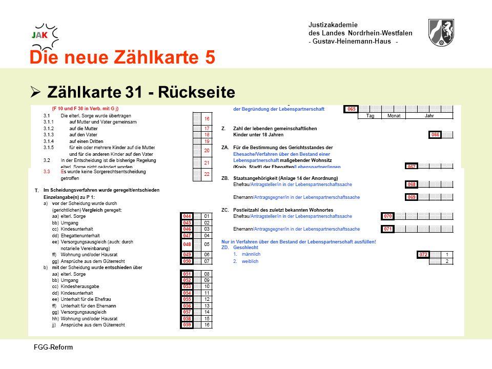 Die neue Zählkarte 5 Zählkarte 31 - Rückseite