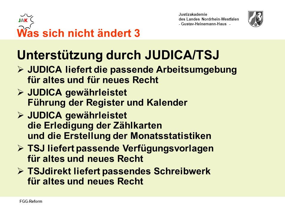 Unterstützung durch JUDICA/TSJ