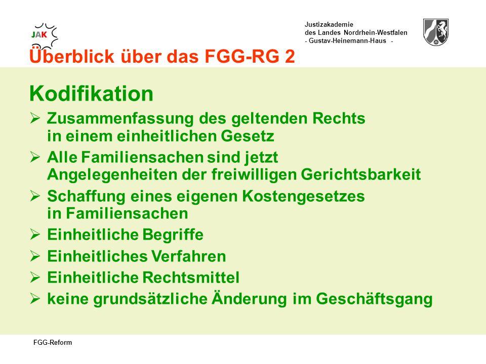 Kodifikation Überblick über das FGG-RG 2