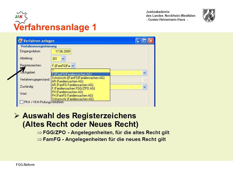 Verfahrensanlage 1 Auswahl des Registerzeichens (Altes Recht oder Neues Recht) FGG/ZPO - Angelegenheiten, für die altes Recht gilt.