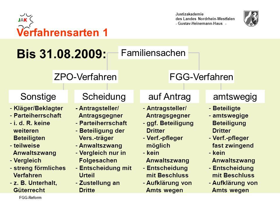 Bis 31.08.2009: Verfahrensarten 1 Familiensachen ZPO-Verfahren