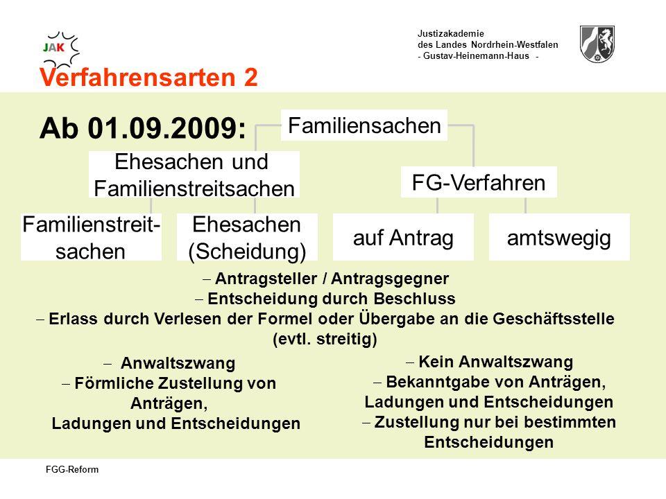 Ab 01.09.2009: Verfahrensarten 2 Familiensachen