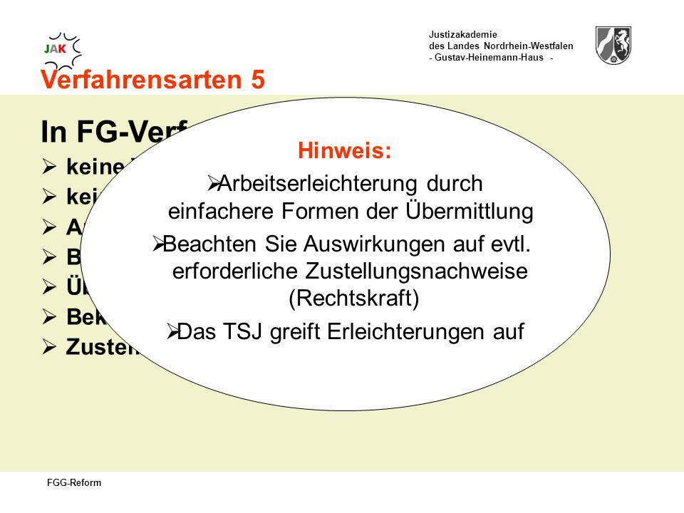 In FG-Verfahren gilt: Verfahrensarten 5 Hinweis: