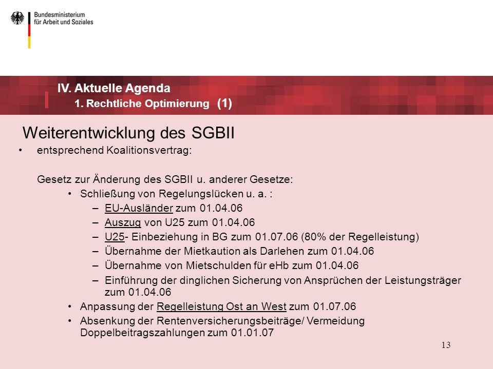 Weiterentwicklung des SGBII