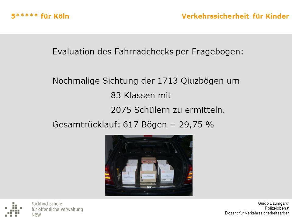 Evaluation des Fahrradchecks per Fragebogen: