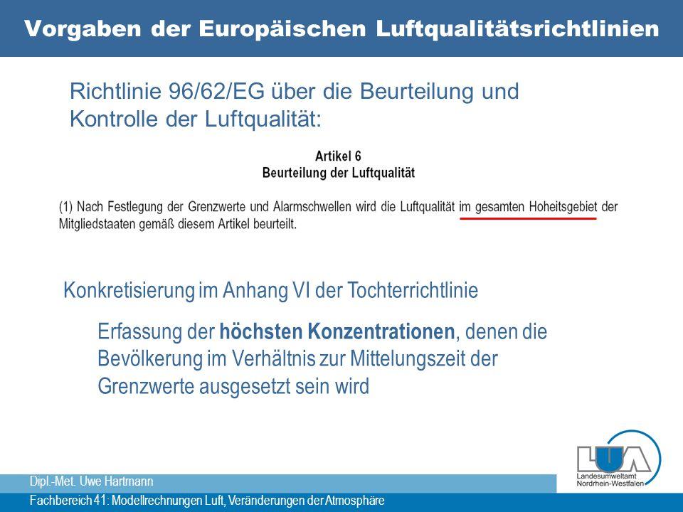 Vorgaben der Europäischen Luftqualitätsrichtlinien