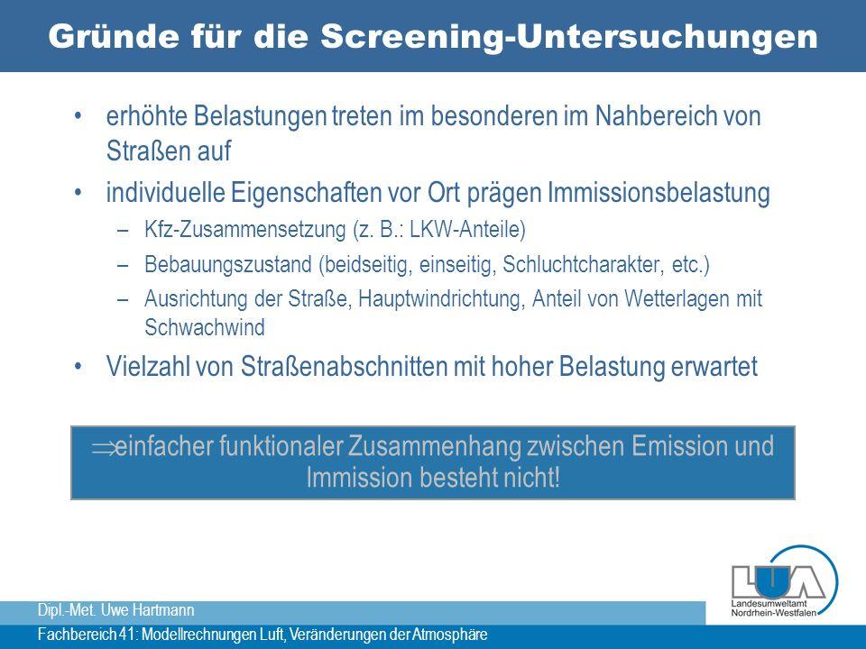 Gründe für die Screening-Untersuchungen