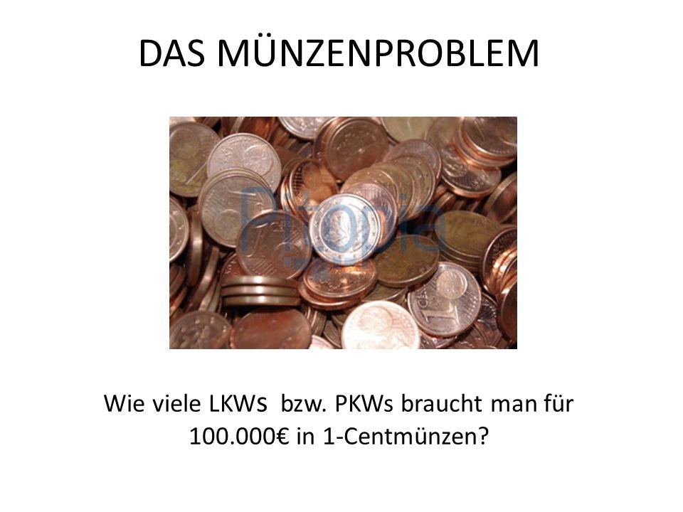Wie viele LKWs bzw. PKWs braucht man für 100.000€ in 1-Centmünzen