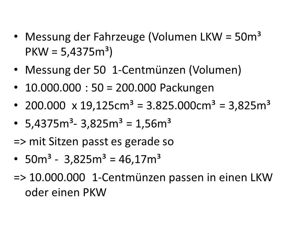 Messung der Fahrzeuge (Volumen LKW = 50m³ PKW = 5,4375m³)