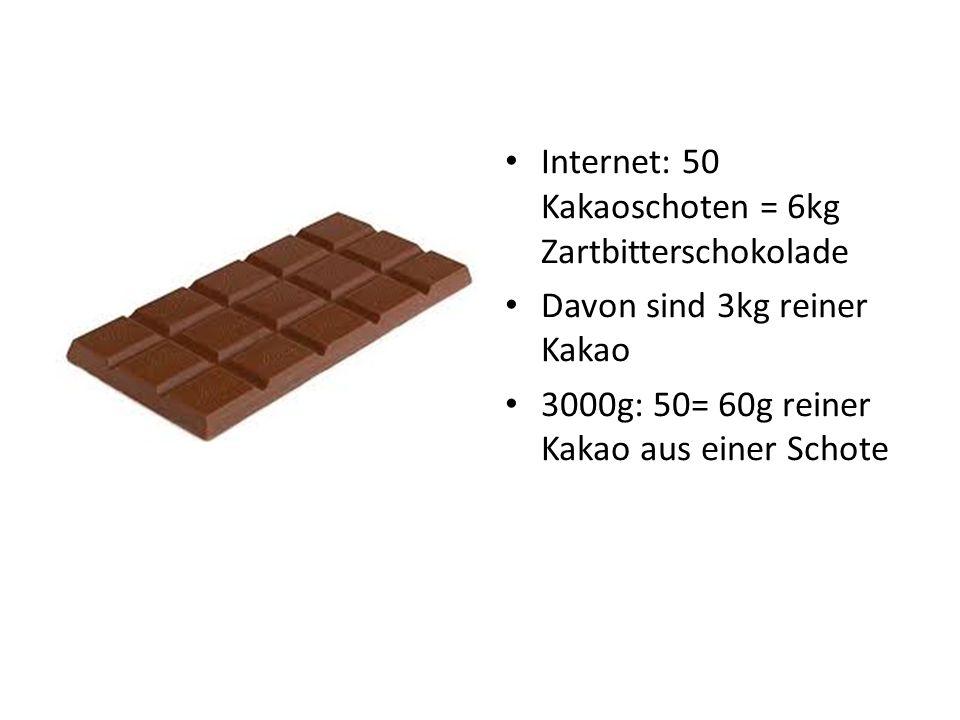 Internet: 50 Kakaoschoten = 6kg Zartbitterschokolade