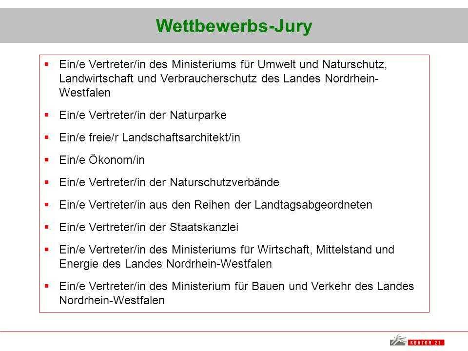Wettbewerbs-Jury Ein/e Vertreter/in des Ministeriums für Umwelt und Naturschutz, Landwirtschaft und Verbraucherschutz des Landes Nordrhein-Westfalen.