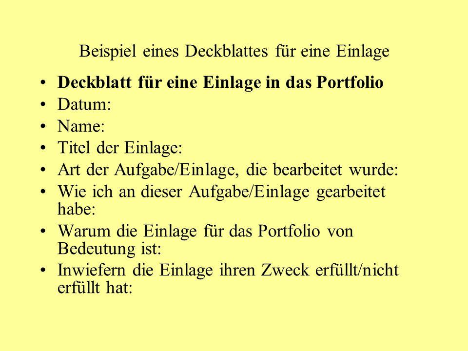Beispiel eines Deckblattes für eine Einlage