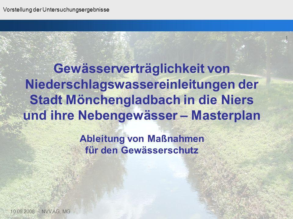 Gewässerverträglichkeit von Niederschlagswassereinleitungen der Stadt Mönchengladbach in die Niers und ihre Nebengewässer – Masterplan Ableitung von Maßnahmen für den Gewässerschutz