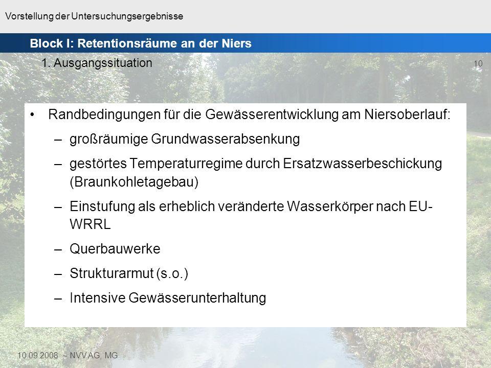 Randbedingungen für die Gewässerentwicklung am Niersoberlauf: