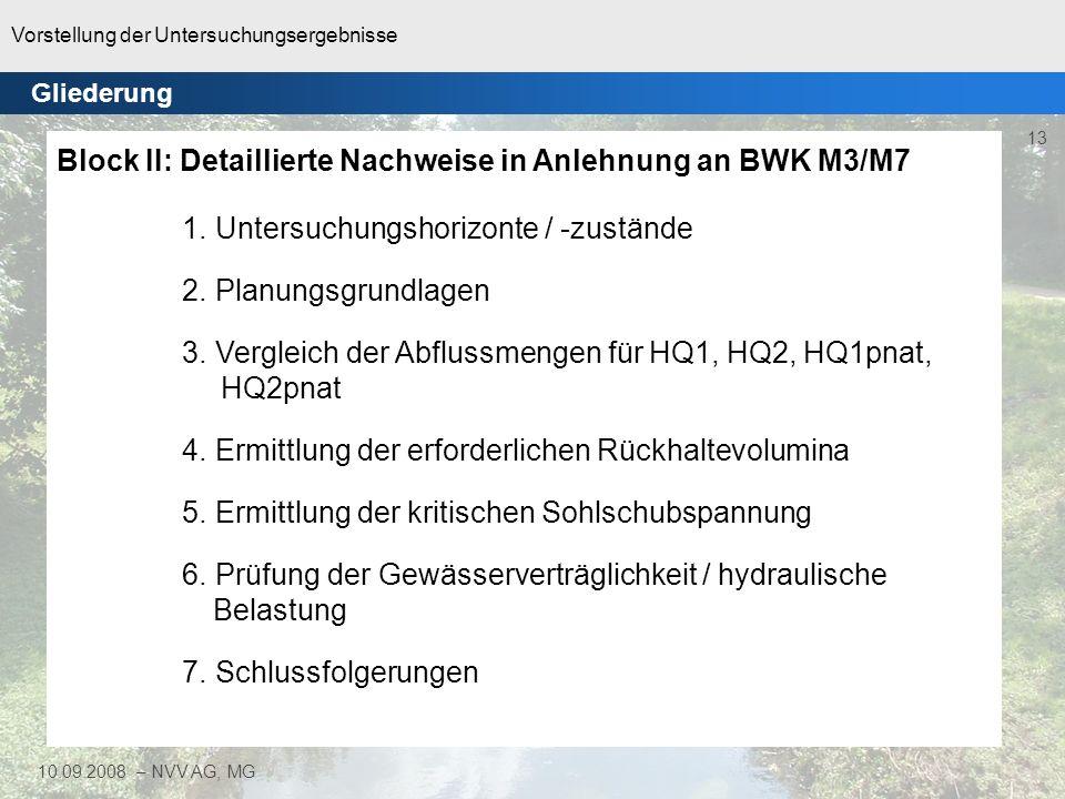 Block II: Detaillierte Nachweise in Anlehnung an BWK M3/M7