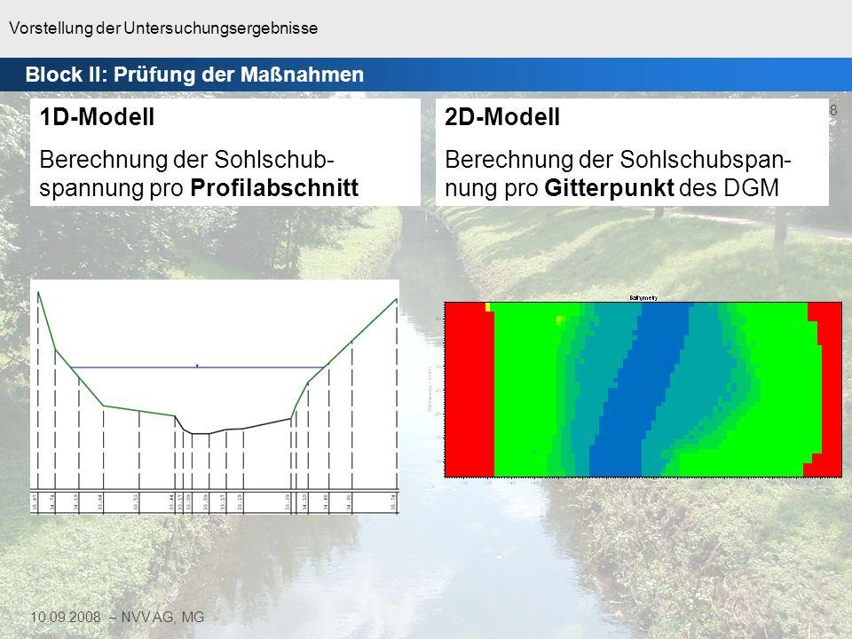 Berechnung der Sohlschub-spannung pro Profilabschnitt 2D-Modell