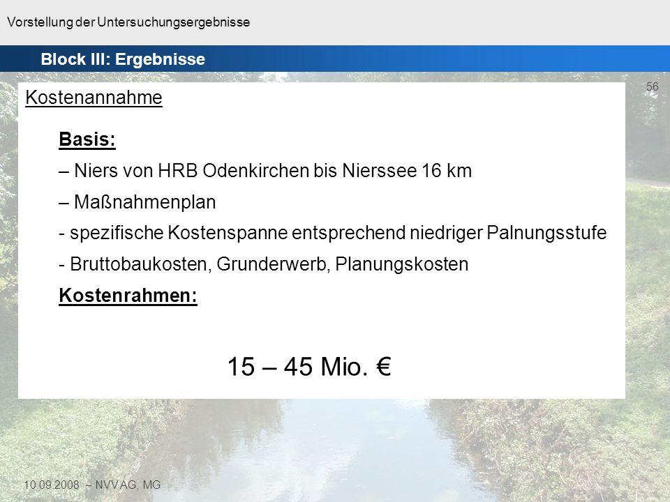 Niers von HRB Odenkirchen bis Nierssee 16 km Maßnahmenplan