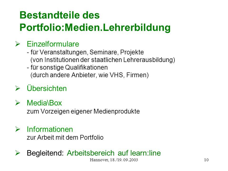 Bestandteile des Portfolio:Medien.Lehrerbildung
