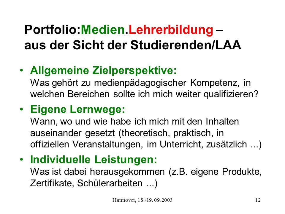 Portfolio:Medien.Lehrerbildung – aus der Sicht der Studierenden/LAA