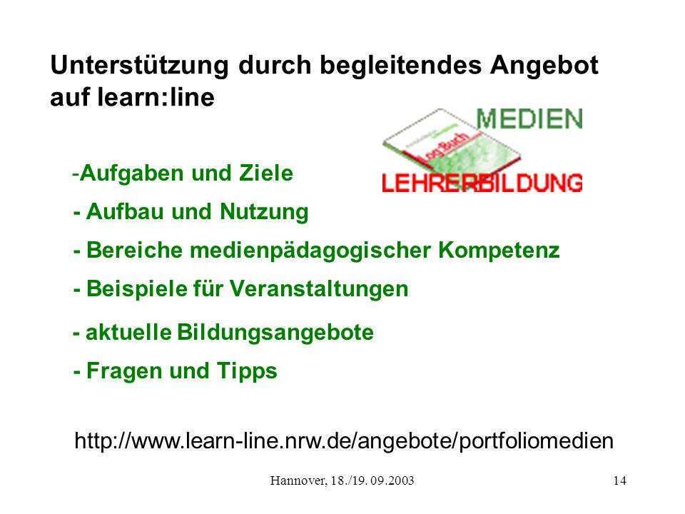 Unterstützung durch begleitendes Angebot auf learn:line