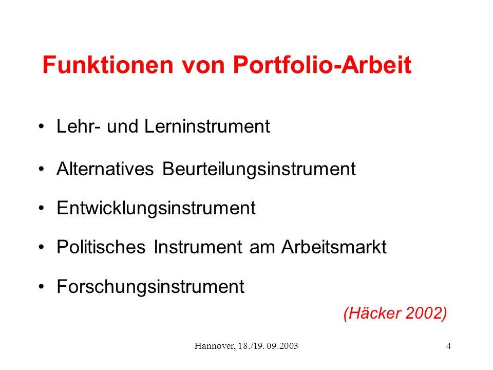 Funktionen von Portfolio-Arbeit