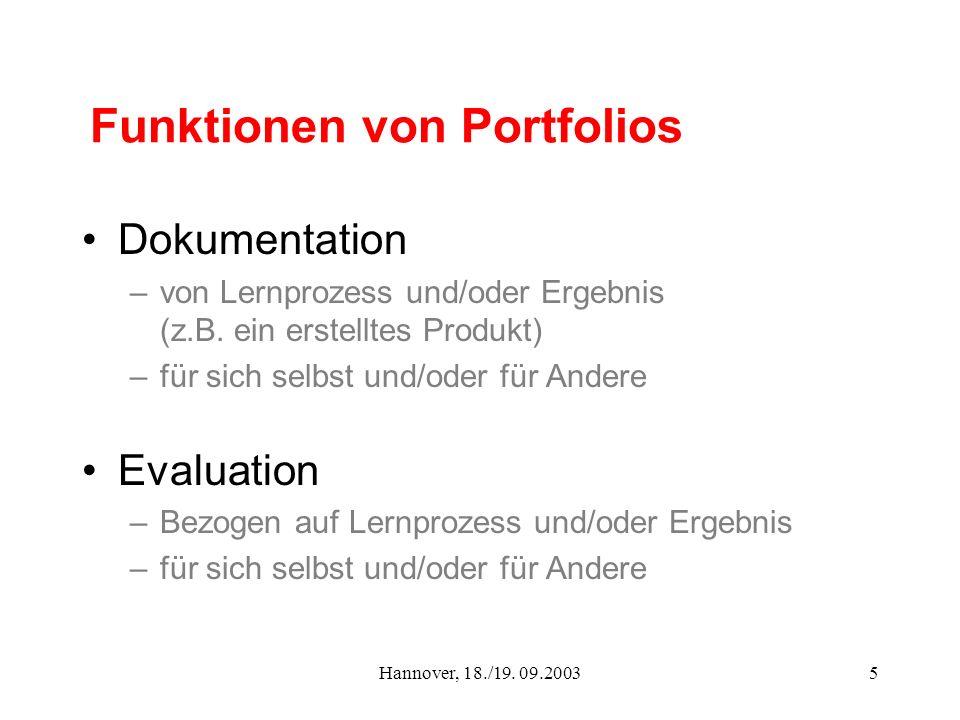 Funktionen von Portfolios
