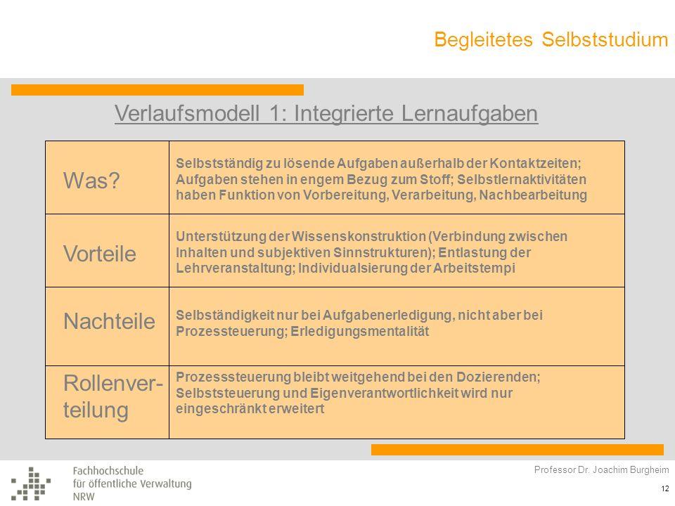 Verlaufsmodell 1: Integrierte Lernaufgaben