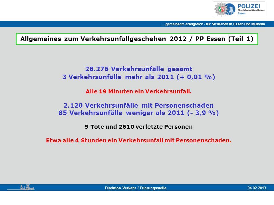 Allgemeines zum Verkehrsunfallgeschehen 2012 / PP Essen (Teil 1)
