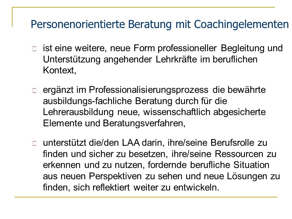 Personenorientierte Beratung mit Coachingelementen
