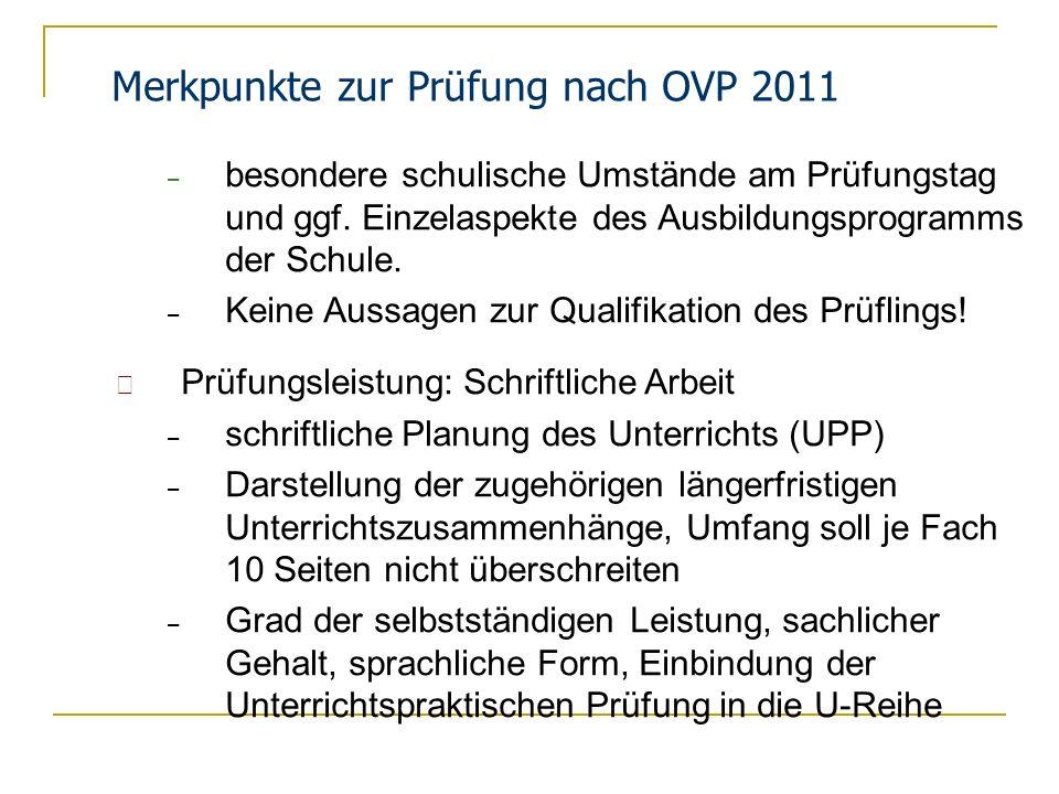 Merkpunkte zur Prüfung nach OVP 2011
